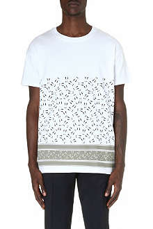MR.HARE Striped Exclamation Mark cotton t-shirt