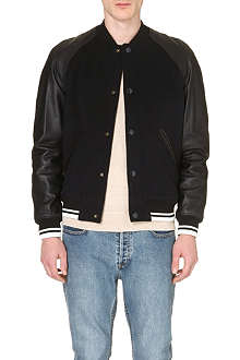 A.P.C. Leather-sleeved bomber jacket
