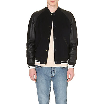 A.P.C. Leather-sleeved bomber jacket (Navy