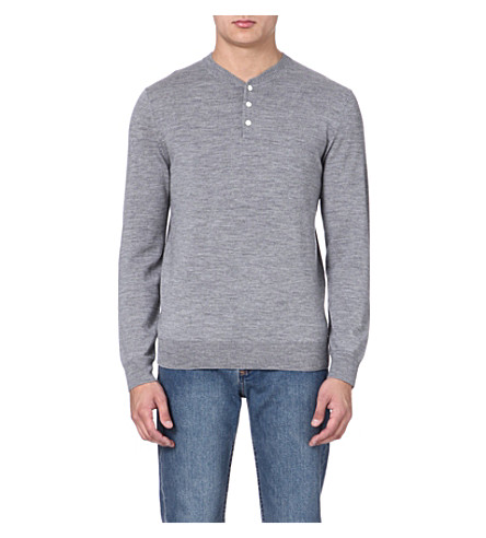 A.P.C. Henley knitted jumper (Grey