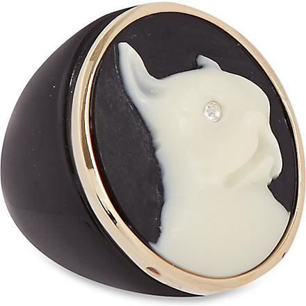 MARC BY MARC JACOBS Cameo animals ring (Black/cream (oro)