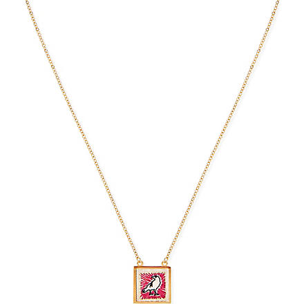 MARC BY MARC JACOBS Felt Crow Icon pendant necklace (Cream multi (oro)