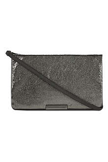 MARC BY MARC JACOBS Ravenheart metallic leather clutch