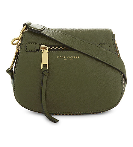 MARC JACOBS Recruit small grained leather saddle bag (Army+green