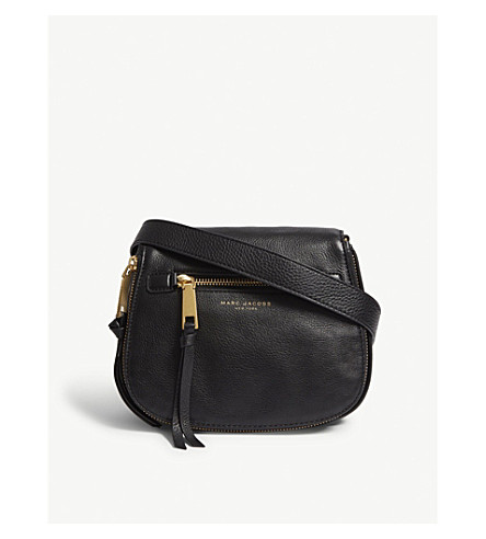 MARC JACOBS Recruit small grained leather saddle bag (Black