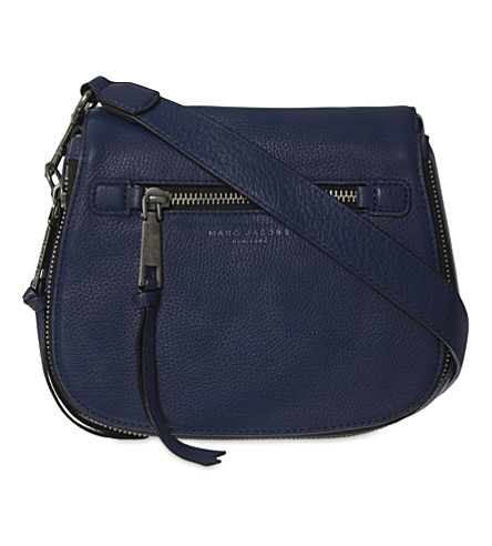 MARC JACOBS Recruit small grained leather saddle bag (Dark+blue