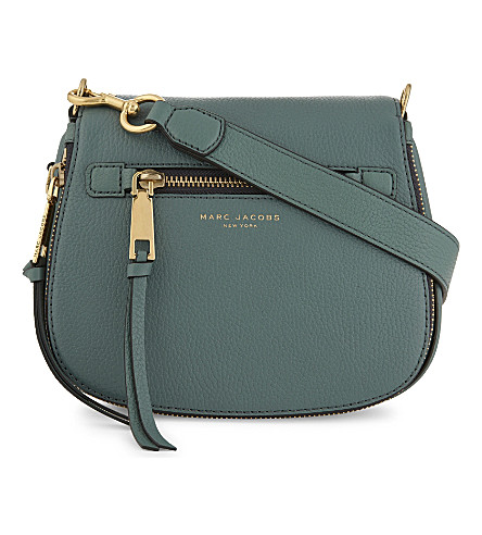 MARC JACOBS Recruit small grained leather saddle bag (Hazy blue