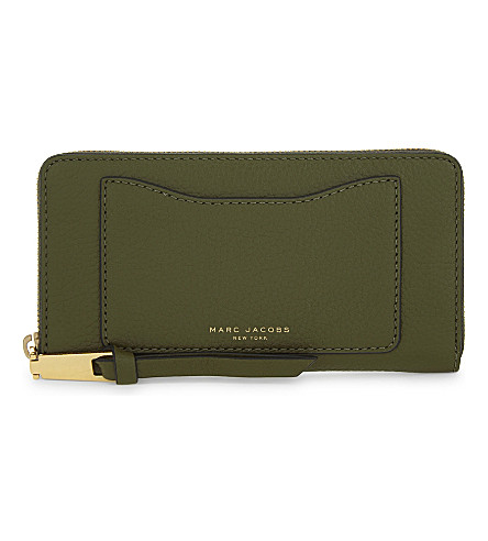 MARC JACOBS Recruit grained leather wallet (Army+green
