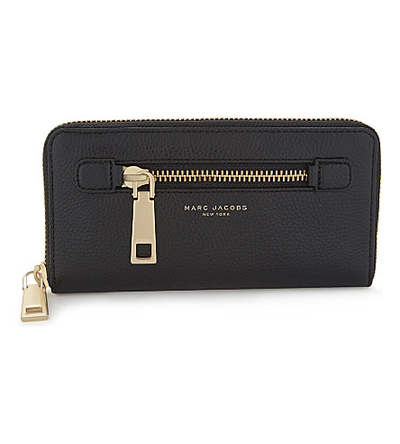 MARC JACOBS Gotham City leather wallet (Black/gold