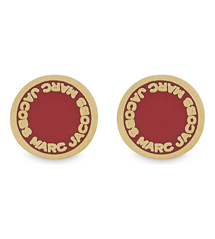 MARC JACOBS Enamel disc stud earrings (Bisou+red