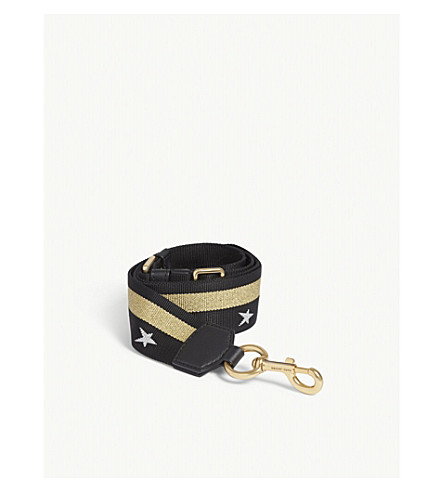 MARC JACOBS Stars and stripe bag strap (Black/gold