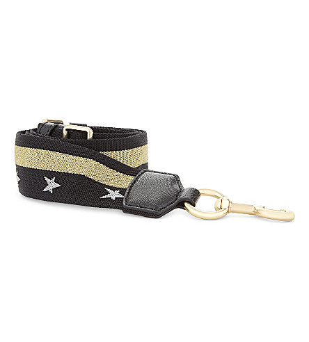 MARC JACOBS Stars and stripe bag strap (Black/shiny+gold