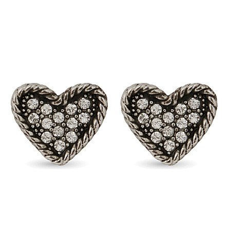 MARC JACOBS Coin heart stud earrings (Crystal/silver