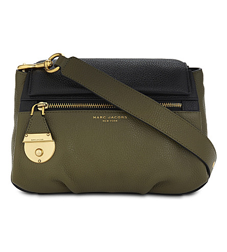 MARC JACOBS The Standard mini leather shoulder bag (Army+green+multi