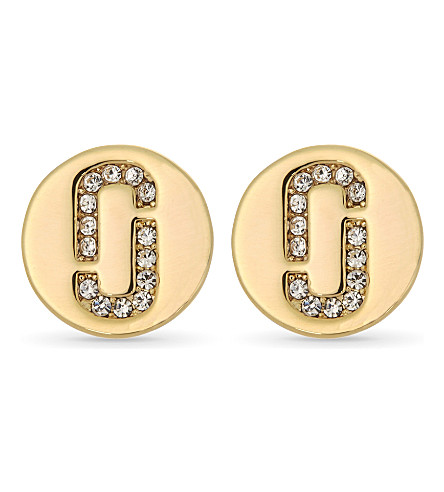 MARC JACOBS Double J Pave stud earrings (Gold