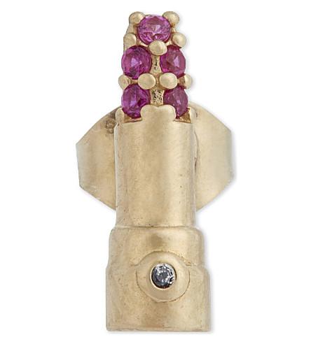 MARC JACOBS Crystal lipstick single stud earring (Red+multi