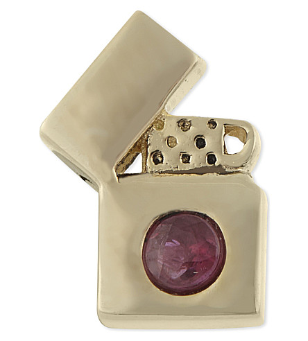 MARC JACOBS Lighter single stud earring (Red/gold
