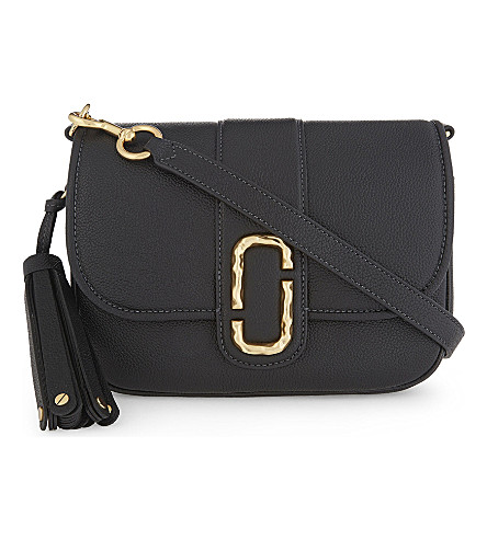 MARC JACOBS Courier small leather messenger bag (Black