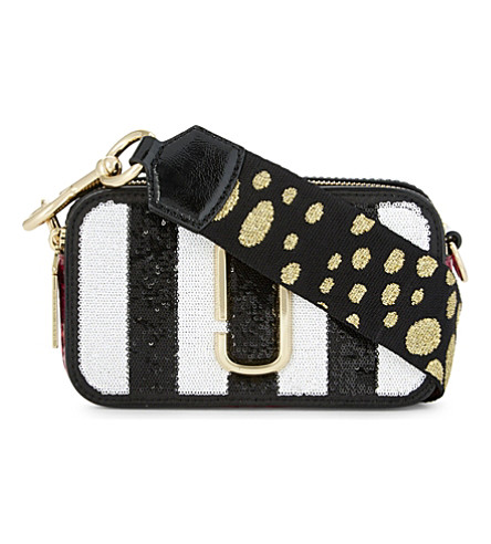 MARC JACOBS Sequin stripes snapshot leather camera bag (Black+multi