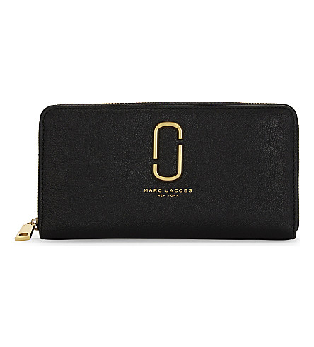 MARC JACOBS Zip-around leather continental wallet (Black