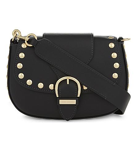 MARC JACOBS Studded Navigator leather saddle bag (Black