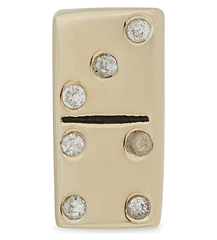 MARC JACOBS Domino gold-toned sterling silver single stud earring (Gold