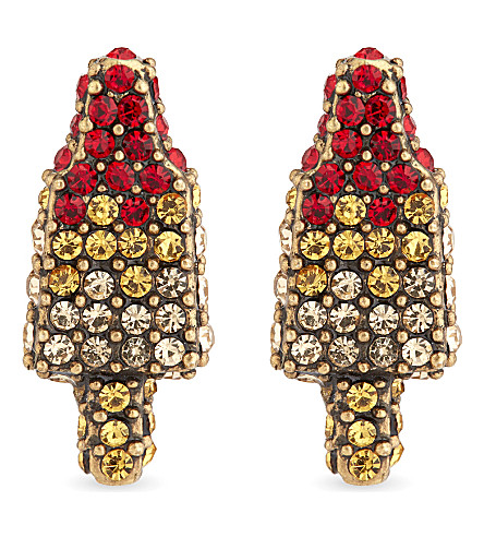 MARC JACOBS Rocket lollipop jewelled stud earrings (Antique+gold