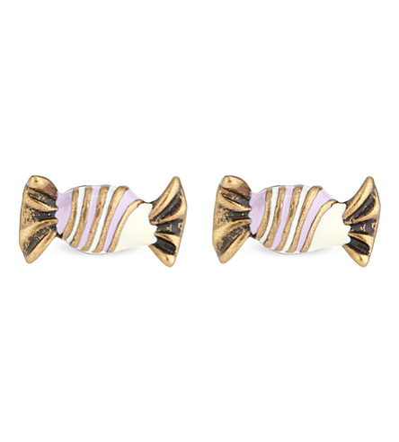 MARC JACOBS Striped candy stud earrings (Antique+gold