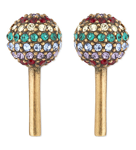 MARC JACOBS Jewelled lollipop stud earrings (Antique+gold