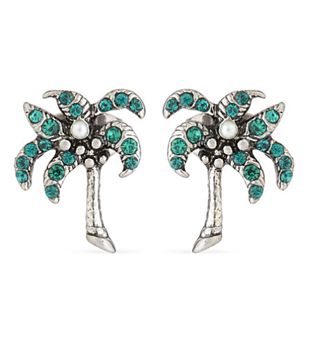 MARC JACOBS Palm tree stud earrings (Antique+silver