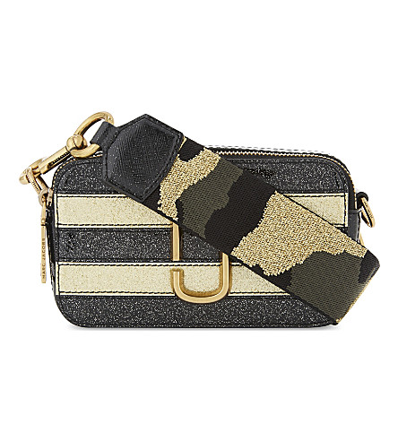 MARC JACOBS Snapshot glitter stripe leather camera bag (Gold+multi