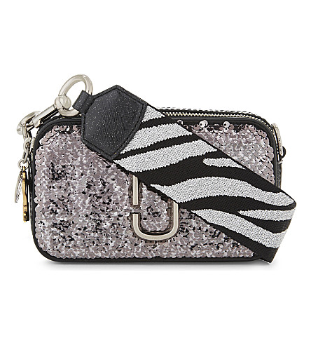 MARC JACOBS Snapshot sequinned leather camera bag (Gunmetal