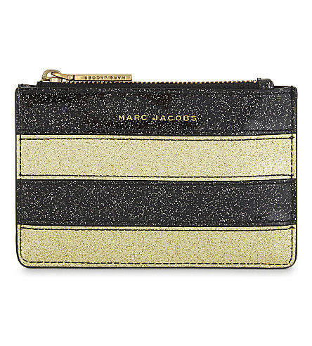 MARC JACOBS Glittered stripe coin purse (Gold+multi