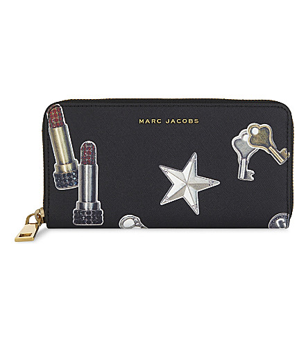 MARC JACOBS Charm print leather continental wallet (Black+multi