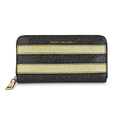 MARC JACOBS Glittered stripe continental wallet (Gold+multi