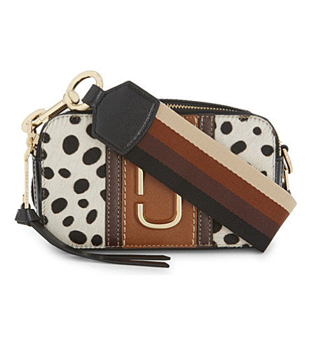 MARC JACOBS Dalmation print snapshot small camera bag (Black+multi