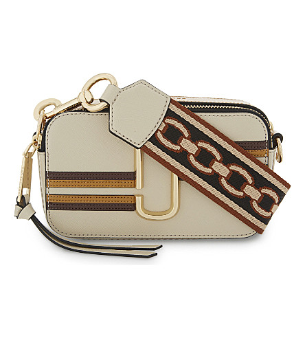 MARC JACOBS Snapshot stripe leather camera bag (Parchment+multi