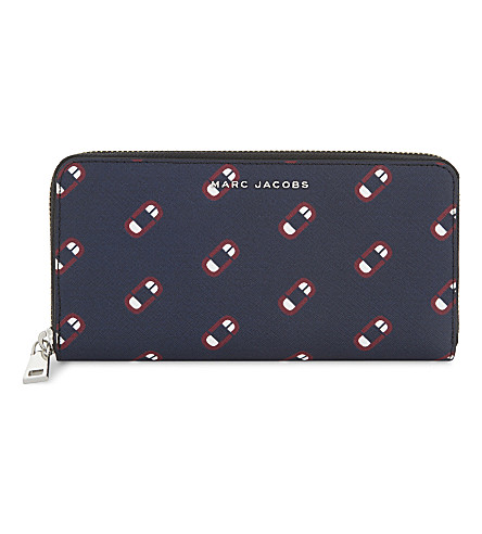MARC JACOBS Monogram Scream leather wallet (Navy+multi