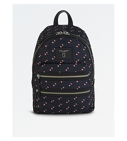 MARC JACOBS Monogram scream printed biker backpack (Navy+multi