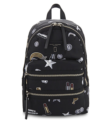 MARC JACOBS Tossed charms nylon backpack (Black+multi