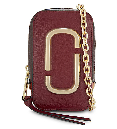 MARC JACOBS Leather shoulder bag (Deep+maroon++multi