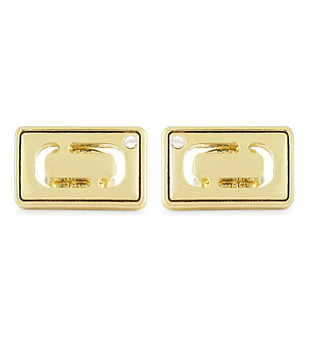 MARC JACOBS Respect Double J stud earrings (Gold