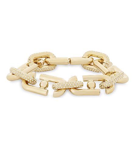 MARC JACOBS Pavé crystals double-J link bracelet (Gold