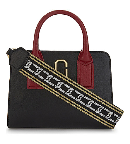 MARC JACOBS Little Big Shot leather tote bag (Black/chianti
