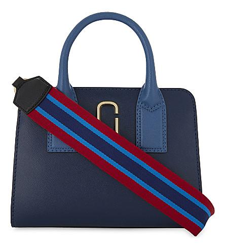MARC JACOBS Little Big Shot leather tote bag (Blue+sea+multi