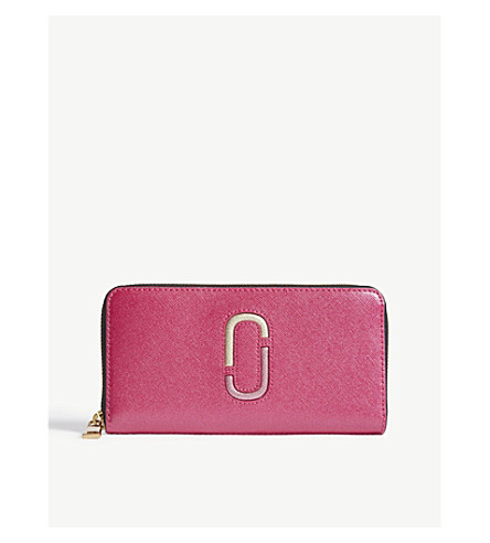 MARC JACOBS Double J Saffiano leather continental wallet (Pink+multi