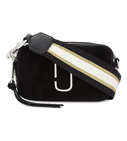 MARC JACOBS Snapshot nubuck and leather cross-body bag (Black