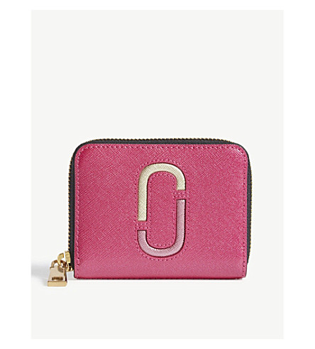 MARC JACOBS Double J metallic Saffiano leather purse (Pink+multi