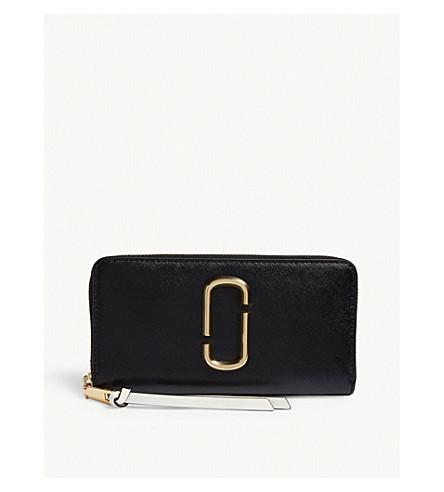 MARC JACOBS Snapshot Saffiano leather zip-around wallet (Black/baby+pink