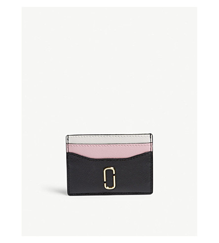 MARC JACOBS Snapshot Saffiano leather card holder (Black/baby+pink